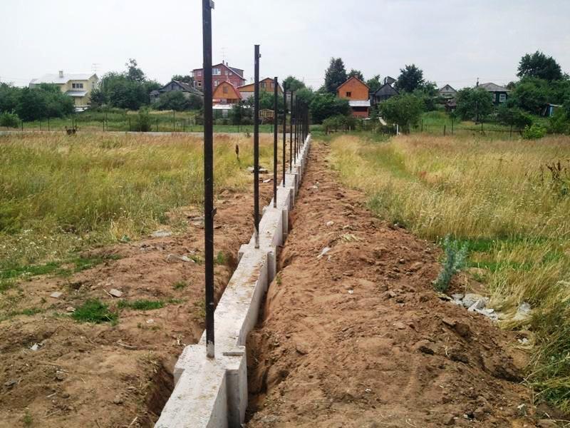 Заливка фундамента под забор своими руками