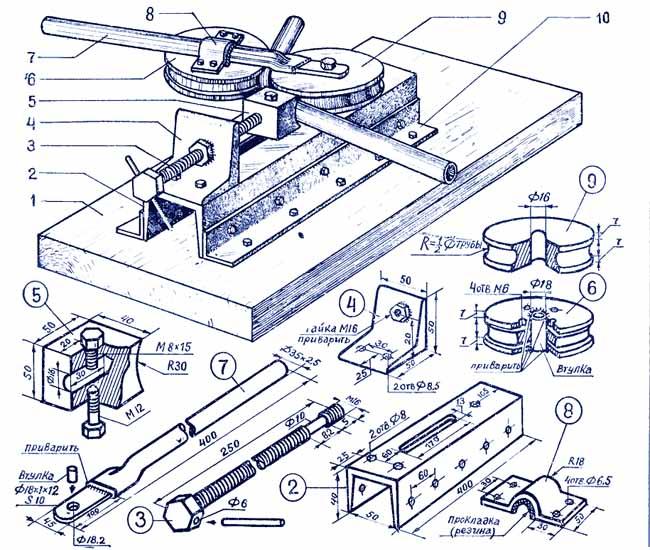 Гибочный станок для труб своими руками чертежи