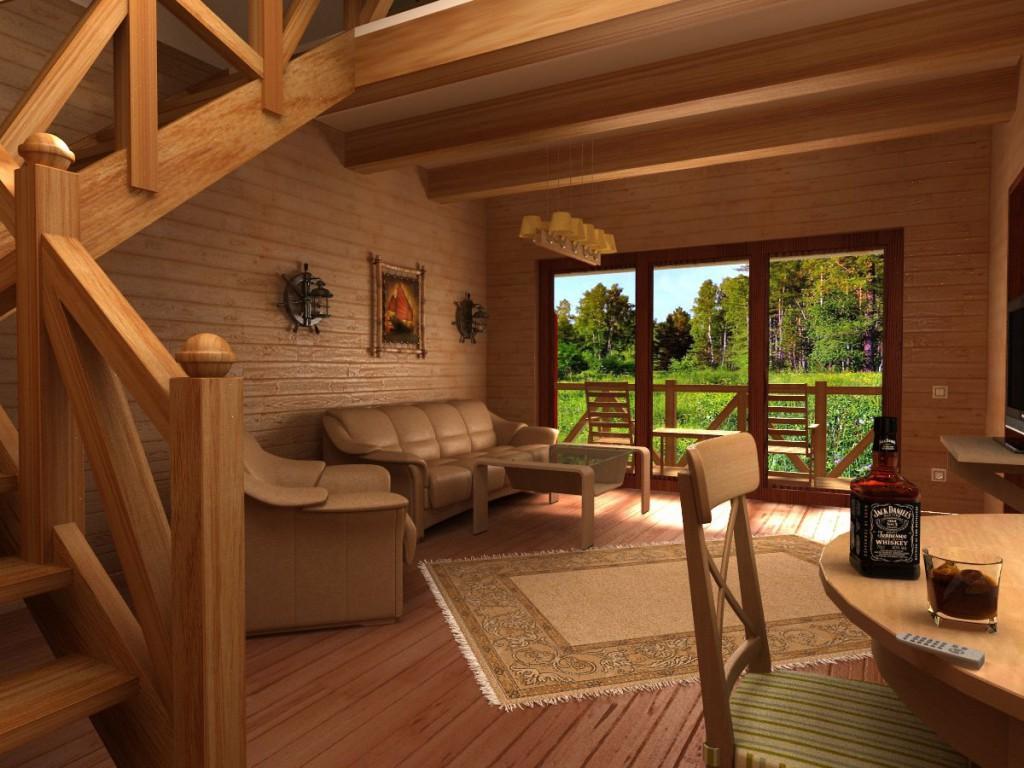 интерьер дома из клееного бруса фото дизайн