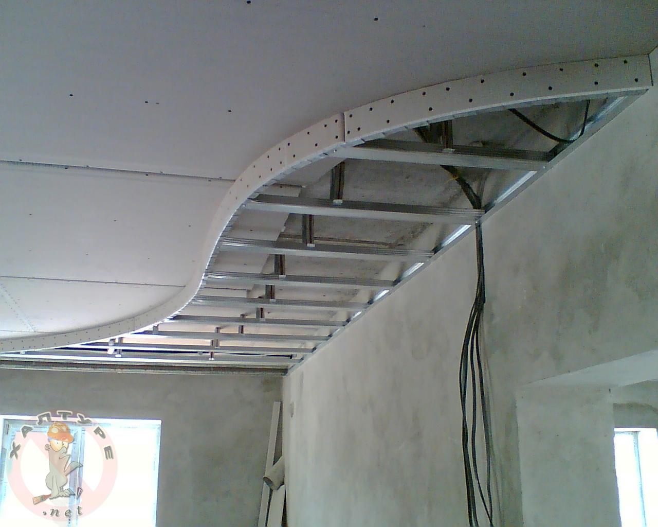 Работа с гипсокартоном своими руками двухуровневый потолок