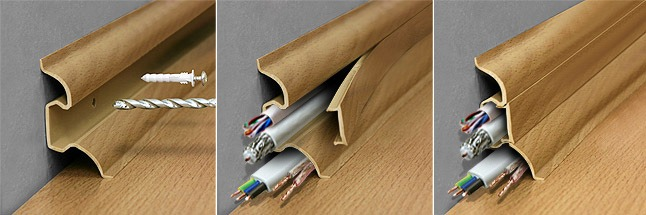 Монтаж плинтуса с кабелем