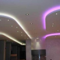 Установка многоуровневых потолков из гипсокартона с подсветкой